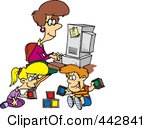 442841-Royalty-Free-RF-Clip-Art-Illustration-Of-A-Cartoon-Woman-Working-On-Her-Computer-As-Her-Kids-Play